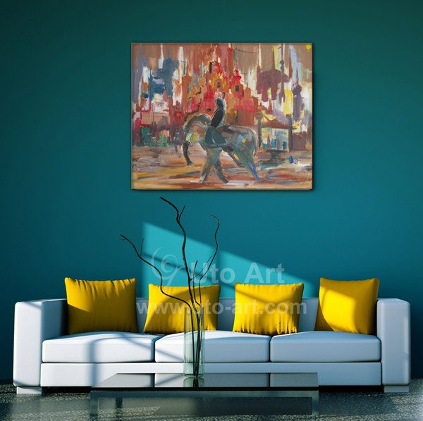 Morden Decor Canvas Home Art Picture of Abstract Painting Man Riding on Elephant Canvas Art Photo for Living Room Decoration