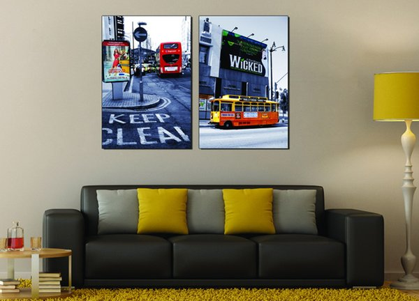 Cost price Wholesale 2pcs Modular Picture City Impression Streetscape Yellow Bus View The Billboard Home Accessories Decoration