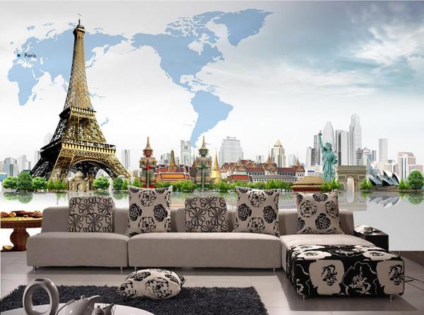 Yaratıcı 3D Mimarlık Dünya Haritası Duvar Eyfel Kulesi duvarlar için duvar kağıdı 3 d oturma odası için