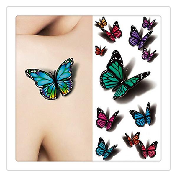 3D Sexy Autocollant De Tatouage Multicolore Papillon Tattoo Decals Corps Art Decal Flying Butterfly Papier Imperméable À L'eau Tatouages Temporaires