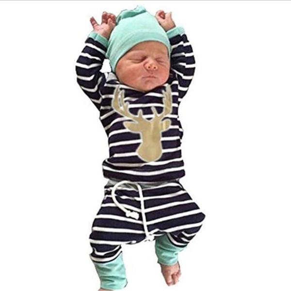 Baby Clothes Set Kid Fashion Suit 3pcs Baby Boy Girl Sets Children Newborn Infant T Shirt Striped Pants Hat Bodysuits Outfits Clothing Sets
