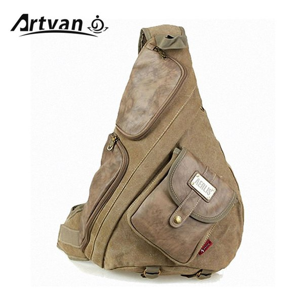 Wholesale- large canvas with leather chest bags for men Vintage casual male  sling backpack Black Army green Khaki Free shipping PB36 79cbb043b2a41