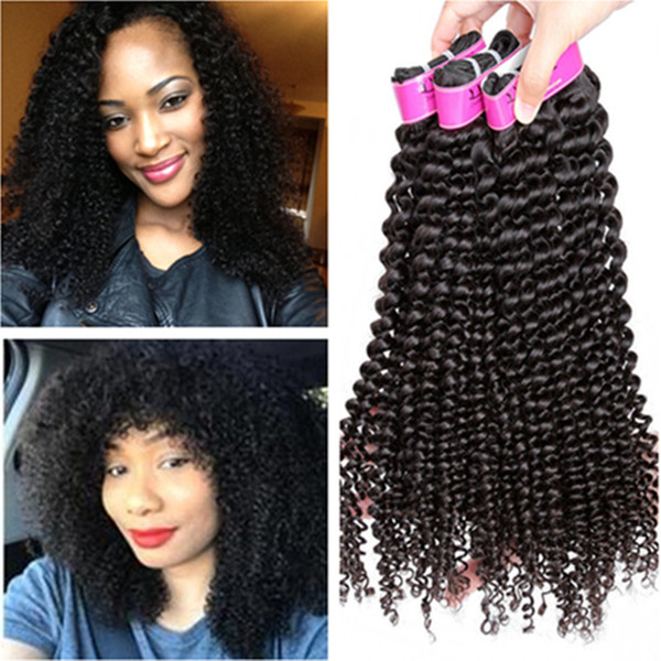 Brazilian Kinky Curly Bundles Human Hair Weft Natural Black #1b Remy Hair Extensions for Black Women Free Shipping Afro Kinky Curly Hair