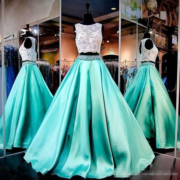 2017 New Two Pieces Mint Green Prom Dresses Lace Crop Top Hollow Back Dresses Evening Wear Beading Crystals Ruffles Satin Robe De Soiree