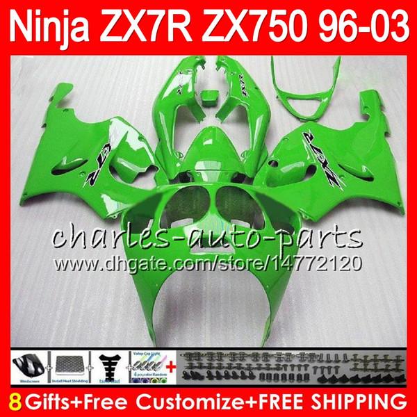 8Regalos 23Colores Para KAWASAKI NINJA ZX7R 96 97 98 99 00 01 02 03 18HM22 Fábrica verde ZX750 ZX 7R ZX-7R 1996 1997 1998 1999 2000 2000 Carenado
