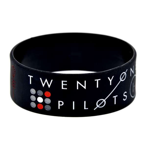 50PCS/Lot Twenty One Pilots Silicone Wristband 1 Inch Wide Bracelet Great To Used In Any Benefits Gift For Music Fans