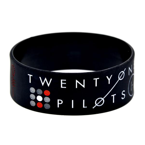 50PCS / lot bracelet de silicone de vingt-et-un pilotes Bracelet large de 1 pouce grand utilisé dans n'importe quel cadeau d'avantages pour les fans de musique