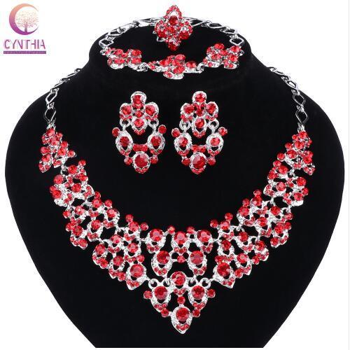 Top argento squisito colori cristallo incorporato sciarpa modello collana braccialetto orecchino anello africano perline gioielli set