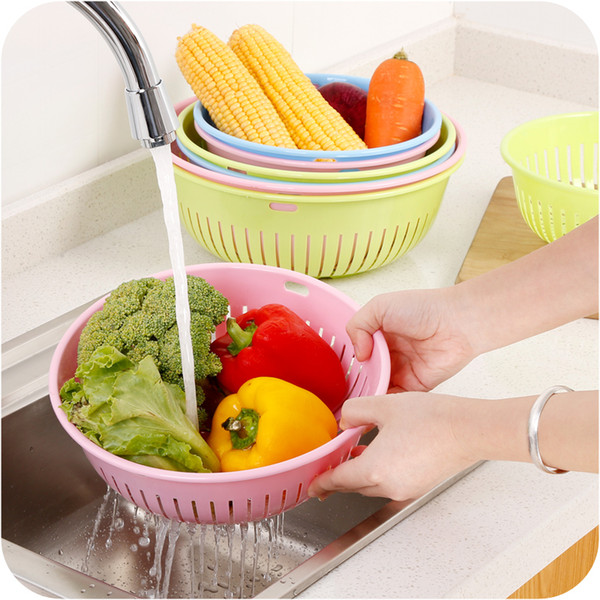 Practical Fashion Round Hollow-out Basket Strainer Set Plastic Basket for Washing Vegetable or Fruit Kitchen Cooking Tools
