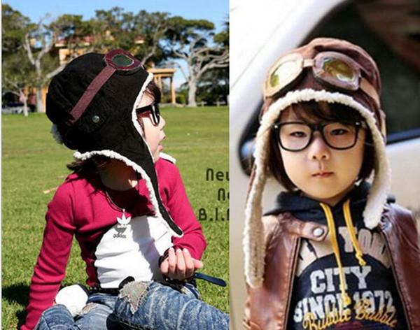 Yüksek kalite Moda Stil Yeni Sevimli Bebek Yürüyor Boy Kız Çocuklar Pilot Aviator Kap Sıcak Şapka Kış Kulaklığı Beanie ...