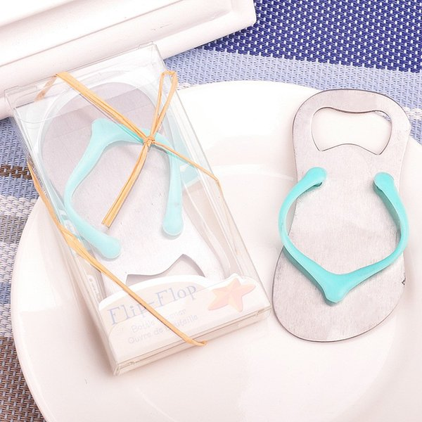 DHL Freeshipping 50pcs Flip flop bottle opener with starfish design wedding favor guest gift green
