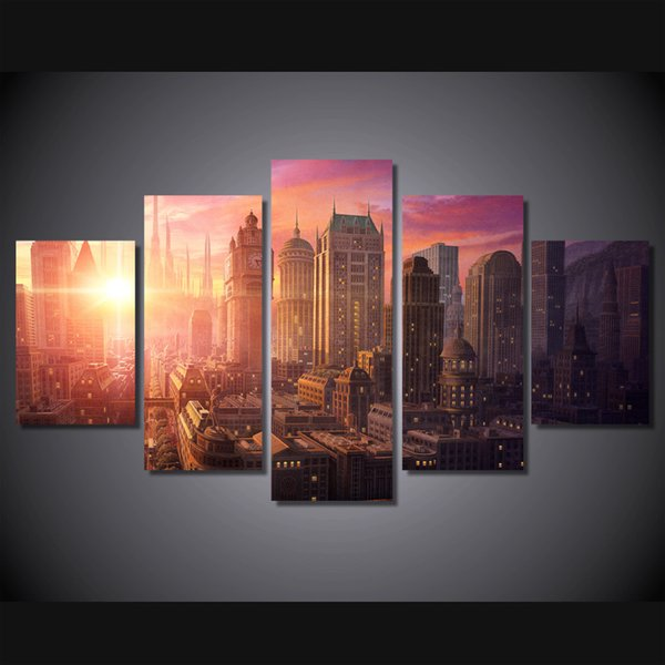 5 Pcs/Set Framed HD Printed Sunset New York City Wall Art Picture Canvas Print Decor Poster Modern Canvas Oil Painting