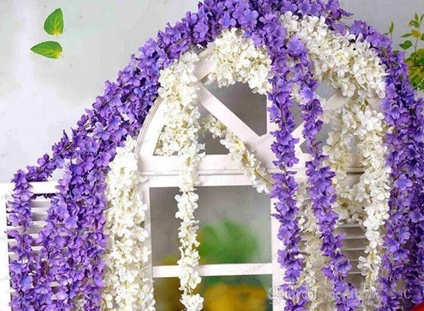2M Super Long Artificial Hydrangea Wisteria Flower DIY Simulation Wedding Arch Door Home Wall Hanging Garland For Wedding Garden Decoration