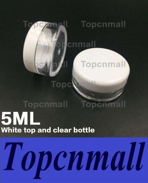 Envío gratis blanco tapa 5 ML PS Cream Jar, Mini botella de muestra de crema cosmética Contenedor vitrina Envase cosmético 5g Mini botella de plástico