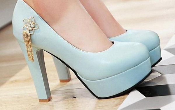 The spring of 2017 the new waterproof Taiwan super high heels shallow mouth round head thick with fashion shoes FuRuiSource