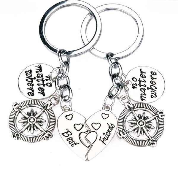 Best friend no matter where keyring compass keychain Pendant for Mother s  Day gift Heart-shaped f66ba3a088