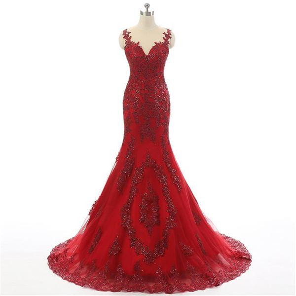 Red Plus Size Long Formal Gowns for Women Prom Gowns Sexy Evening Dresses Mermaid Sheer Neck With Two Straps Lace Applique Party