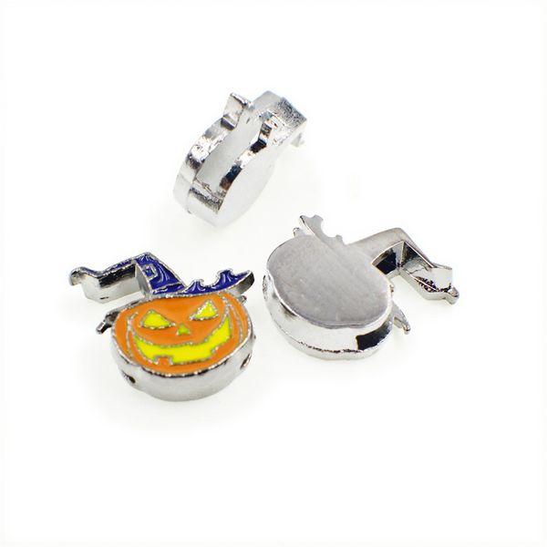 wholesale 5pcs 8mm pumpkin Slide Charm Fit Pet Name Collar wristband SL458