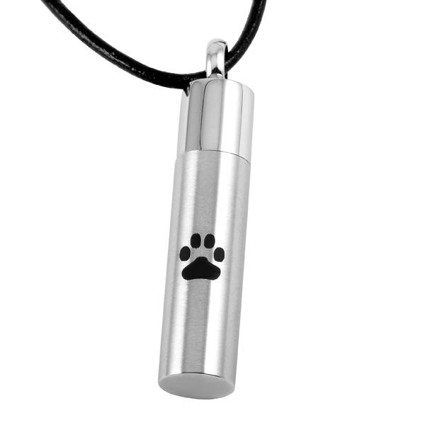 Cremation Jewelry Paw Engraved Cylinder 316L Stainless Steel Cremation Pendant Necklace Pet Ashes Keepsake Urn Necklace