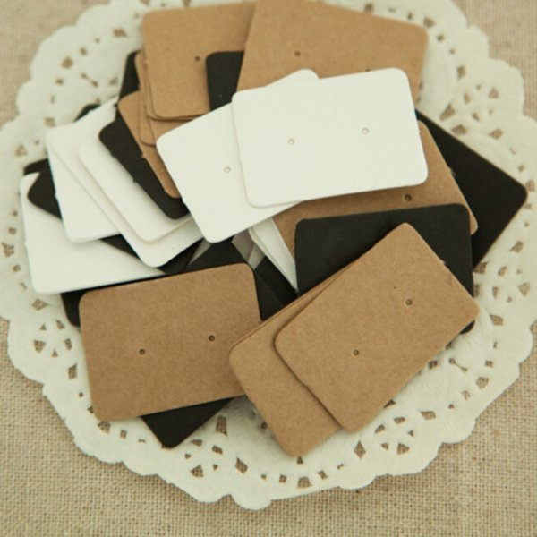 Wholesale- 2.5*3.5cm Jewelry Earring Ear Studs Hanging Holder Display Hang Paper Cardboard Cards Kraft Paper Package For Party 50Pcs/lot