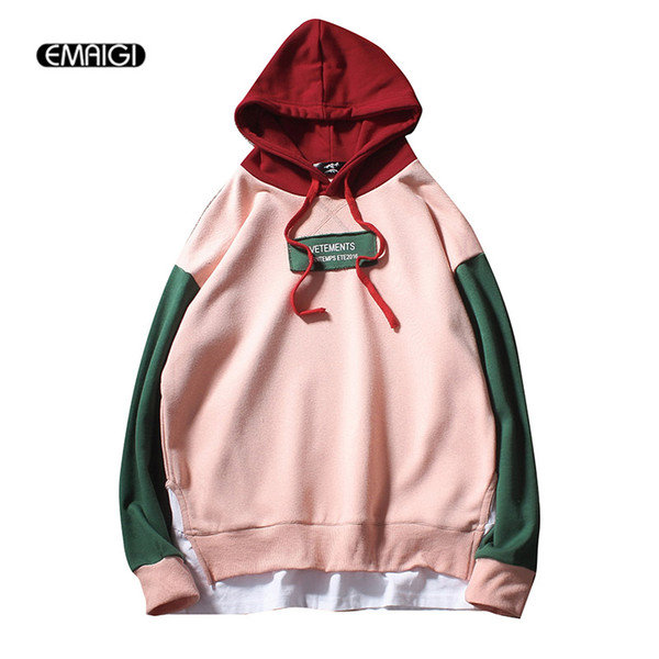 Wholesale- Large Size M-5XL Colors Splice Men Women Hooded Sweatshirt Male Fashion Casual Long Sleeve Pullover Hoodie Jacket
