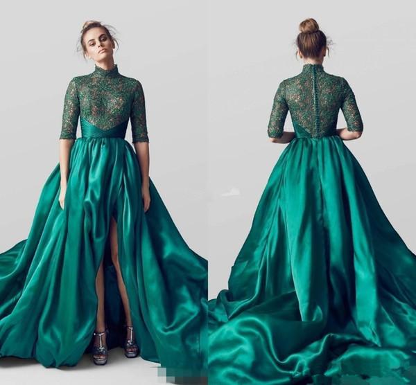 Arabic Emerald Green High Neck Split Evening Dresses Half Long Sleeves Lace Applique Green Formal Prom Gowns Celebrity Party Dress 2017