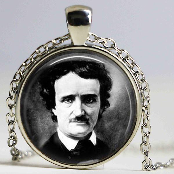 Edgar Allan Poe necklace Antique Raven Nevermore Black and White Art pendant Vintage portrait jewelry