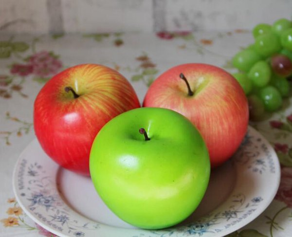 10Pcs House Decoration Decor Fake Apple Artificial Fruit Model Kitchen Party Decorative Green Red Pink Apple 2017 New Style