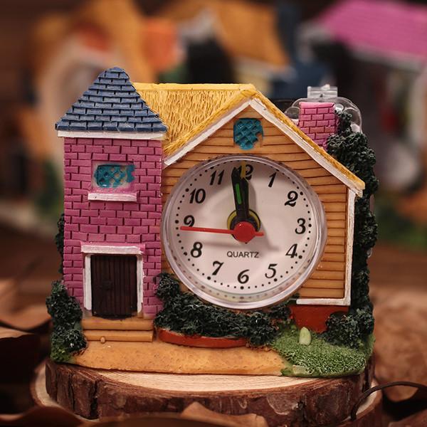 Alarm clock alarm clock antique villa creative art building simple desktop decoration