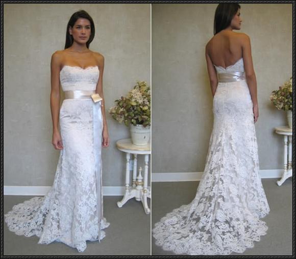 Venta al por mayor Diseño simple jardín vestidos de novia de encaje ...