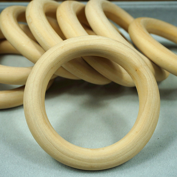 50pcs 40-70mm Natural Wooden Beads Connectors Circles Wood Rings Beads Lead-Free Round Unfinished Natural Wood Jewelry Making Findings