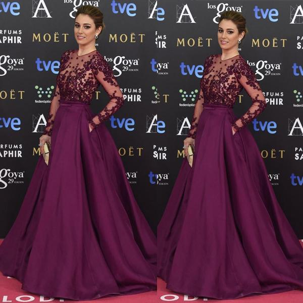 2017 Elegant Lace Applique Beaded Red Carpet Satin Prom Dress Illusion Ball Gown Formal Long Sleeves Floor Length Evening Dresses