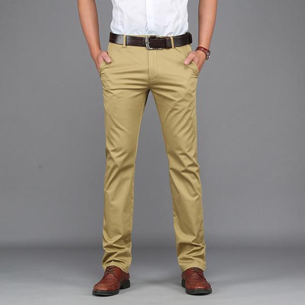 Venda quente - Rei Brilhante Midweight Primavera Verão Casual Calças Men Brand Clothing Algodão de alta qualidade 2017 New Fashion Masculino Business Trousers