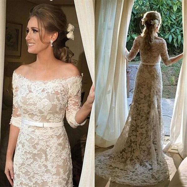 top popular Boat Neck Lace Wedding Gown Off-the-shoulder Mid Sleeves Champagne   Ivory Sheath Half Sleeves Wedding Dress Vestido de Noiva 2019