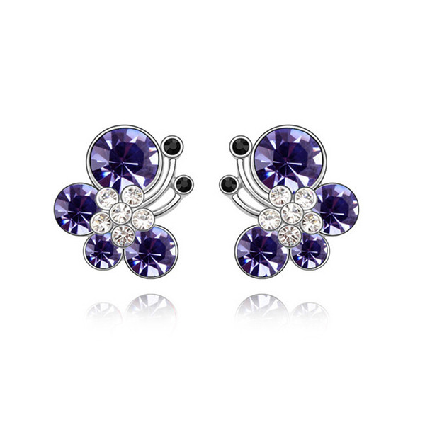 Animal Jewelry 3 Colors White Gold Color Crystal Zircon CZ Cute Butterfly Piercing Stud Earrings for Women Kids Girls