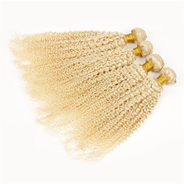 Brazilian Blonde Virgin Hair Deep Curly 3Pcs Platinum Blonde Curly Hair Weft 613 Gold Blonde Human Hair Weave
