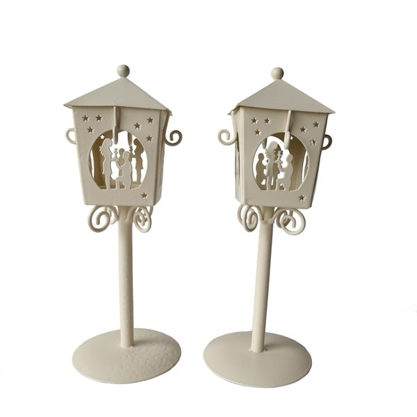 Free shipping Cheap D9*H23CM Metal candle holder Small Iron classic lantern White/Black Color Valentine gift