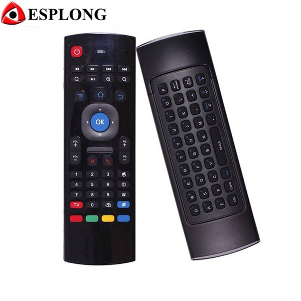 Wholesale- MX3 Wireless Keyboard Air Mouse Two sided Remote Cotroller Gyroscope Sensors MIC Combo For MXQ M8S M95 S905 Android TV BOX