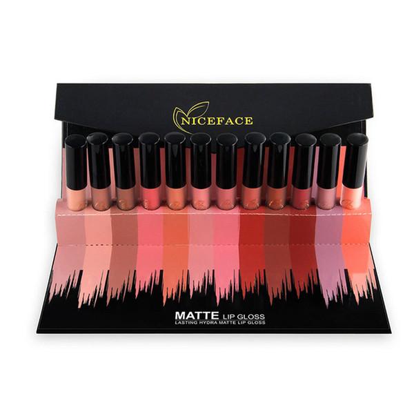 12PCS/Set Liquid Matte Lipstick Cosmetics Makeup Nude Lip Lipsticks Metallic Lip Gloss Stick Make up Lips Lipgloss with Gift Box 2803029