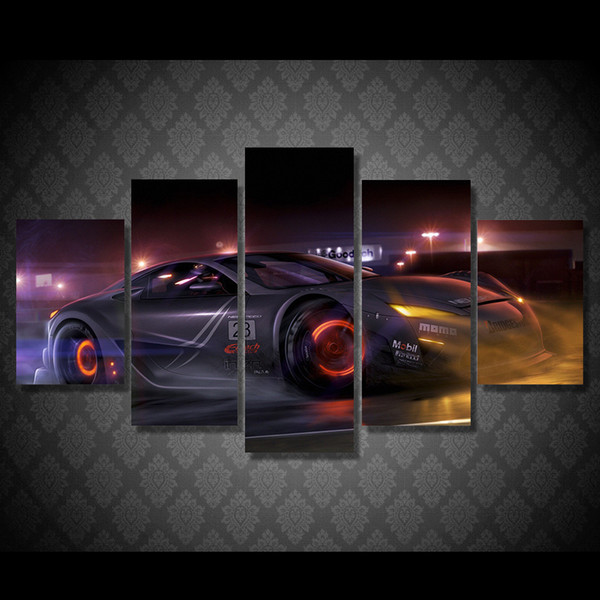 5 Pcs/Set Framed HD Printed Luxury Car Pictures Picture Wall Art Canvas Print Decor Poster Canvas Oil Painting
