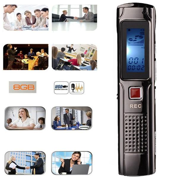 Mini Digital Audio Voice Recorder Sound Dictaphone 8GB Portable Micro Steel Stereo Recording Pen With MP3 Music Player
