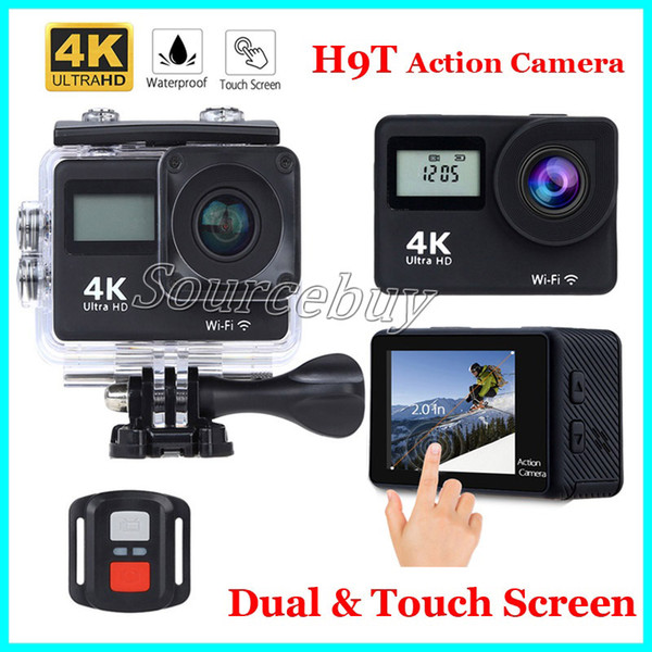 New Cheap Dual Screen Sports Camera H9T 4K Ultra HD Action Camera 2.0 inch Touch Screen 30M Waterproof Remote Control Mini DV