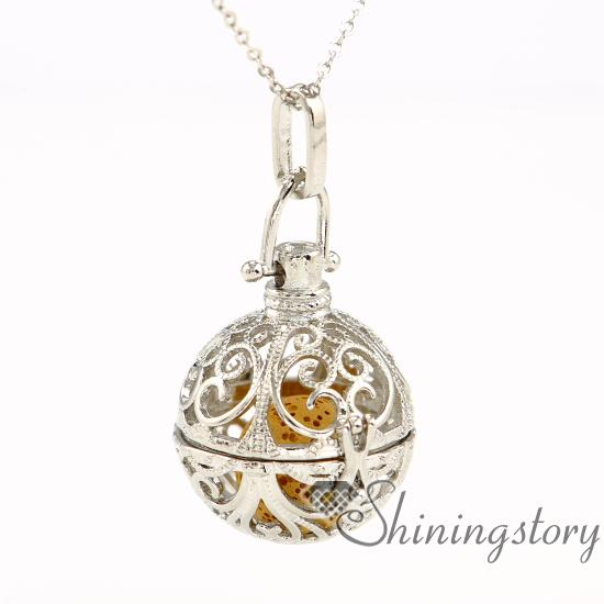 jewelry scents perfume necklace aromatherapy necklace diffuser pendant glass vial necklace metal volcanic stone openwork ball