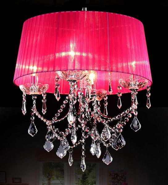 Free shipping Dia 46cm*H50cm Crystal Chandeliers Elegant 4 Lights Fabric Crystal K9 Chandelier Living Room Pendant Lamps Droplight
