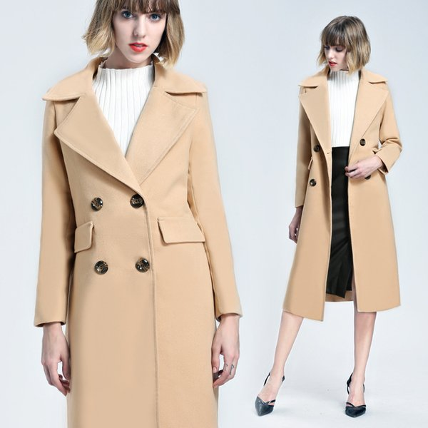 Abrigos largos de lana de las mujeres de alta calidad 2018 Moda nueva gabardina Outwear Office doble pechos Manteau Femme europeo FS3153
