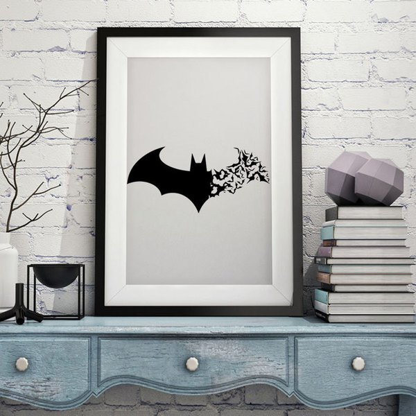 10X Wholesale Halloween Batman Wall Stickers Living Bedroom Decorations  Kawaii Diy Flowers Pvc Home Decals Mural