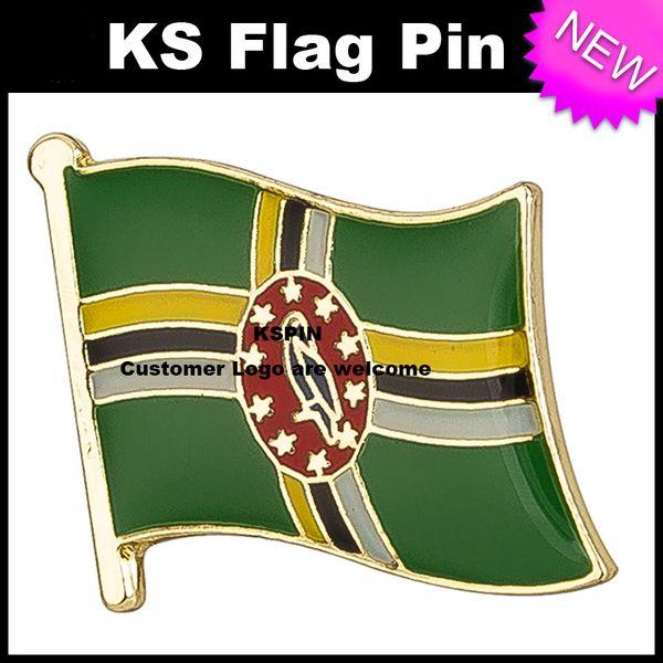 Dominika Bayrağı Rozeti Bayrak Pin 10 adet bir lot Ücretsiz Kargo KS-0053