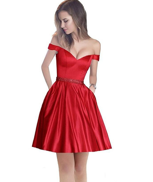 Off The Shoulder A Line Short Beaded Waist cocktail Party Dress With Pocket Prom Dresses For Juniors Homecoming dress
