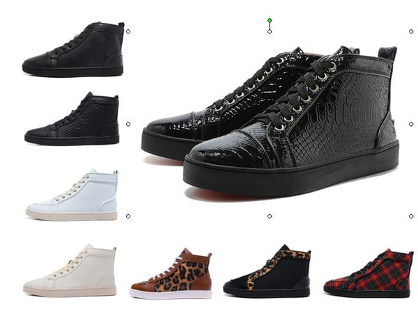 High top Red bottom new sole made in EU black Patent leather fashion casual shoes,men women unisex leisure trainer footwear Lichee Pattern