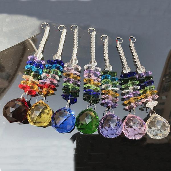 5PCS K9 Crystal Ball Suncatcher Feng Shui Prisms Pendant Pendulum Hanging Glass Window Decor 20mm W014